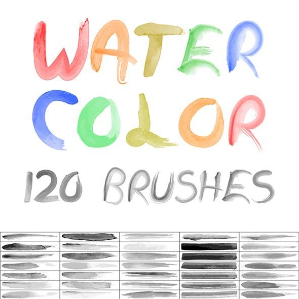 120 Watercolor Vector Brush Set
