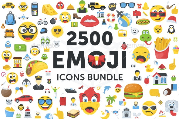2500 Emoji Icons Bundle - Icons