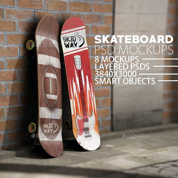 Skateboard 8 Layered PSD Mock-ups