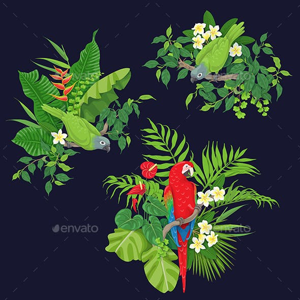 Green Parrots and Red Macaw on Tree Branch