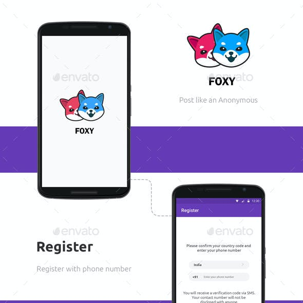 Anonymous Social Networking Android iOS App UI: Foxy