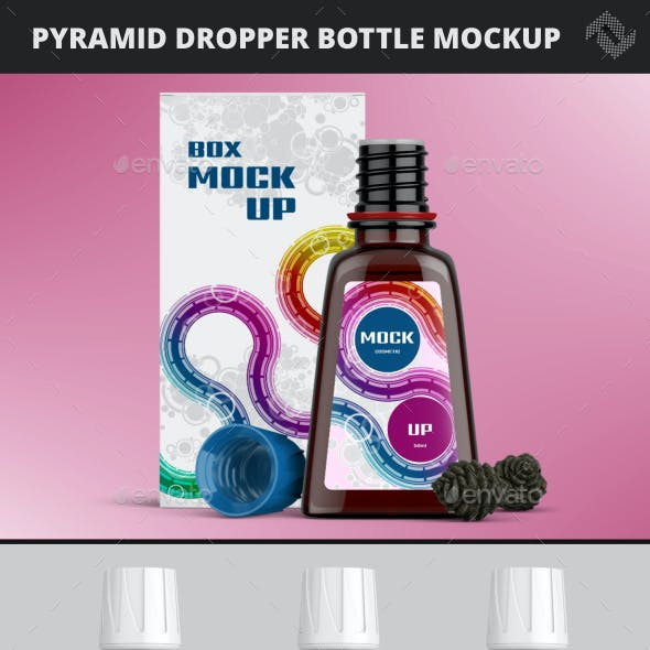 Pyramide Shaped Cosmetic Dropper Bottle Mockup