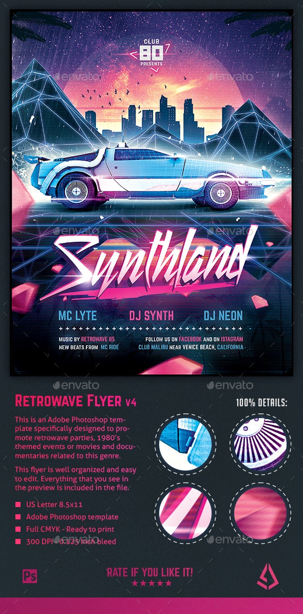Synthwave Flyer v4 - Synthland Retrowave Series Poster Template - Clubs & Parties Events