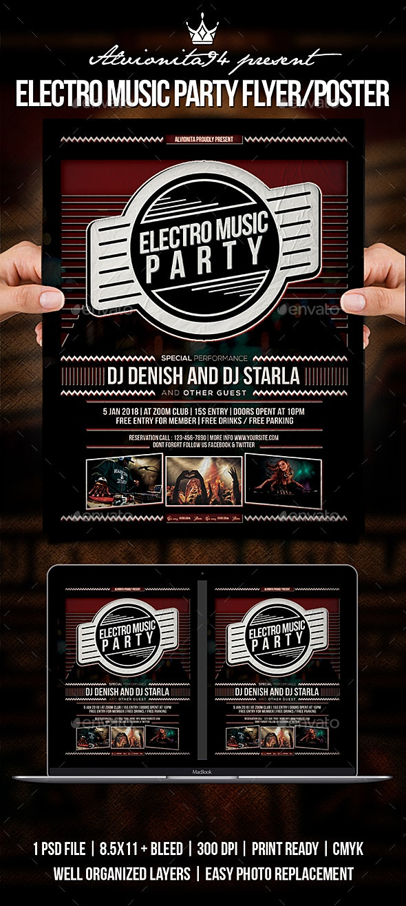 Electro Music Party Flyer / Poster - Clubs & Parties Events