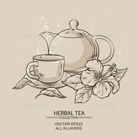 Teapot with Cup and Hibiscus Flower