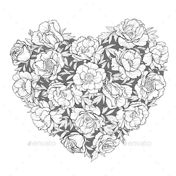 Vector Heart of Peonies