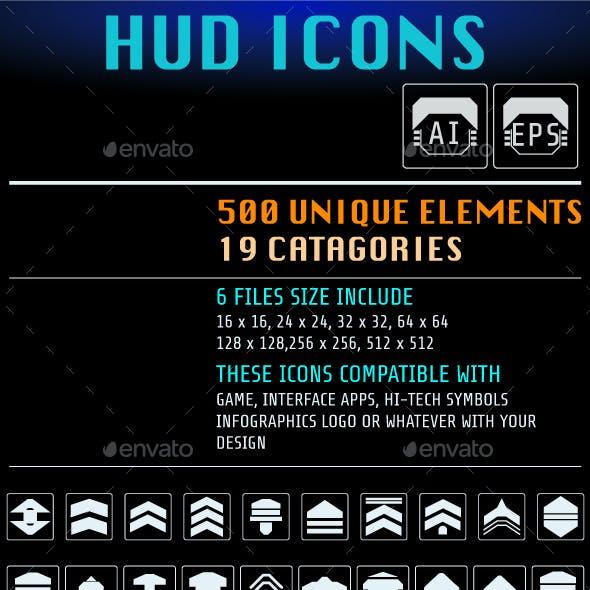 HUD Futuristic 500 Icons For UI Apps Logo Design