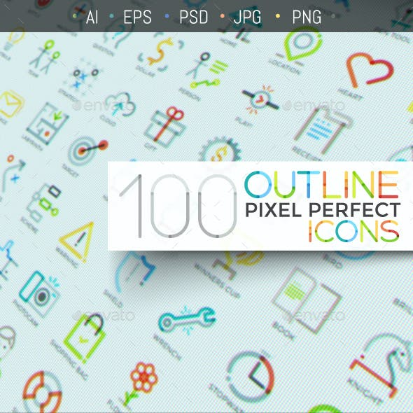 100 Outline Icons (Pixel Perfect)