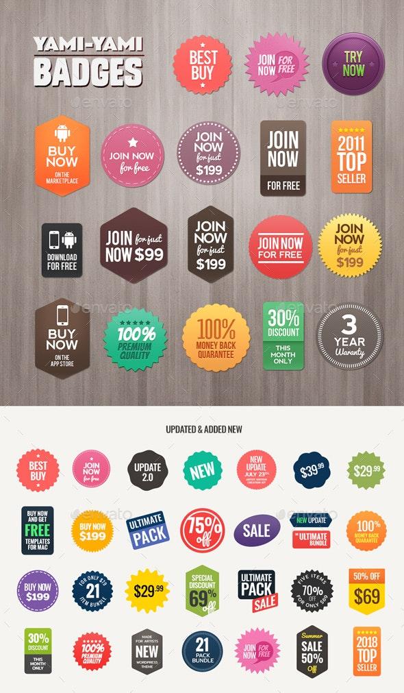 Yami Yami Badges - Badges & Stickers Web Elements