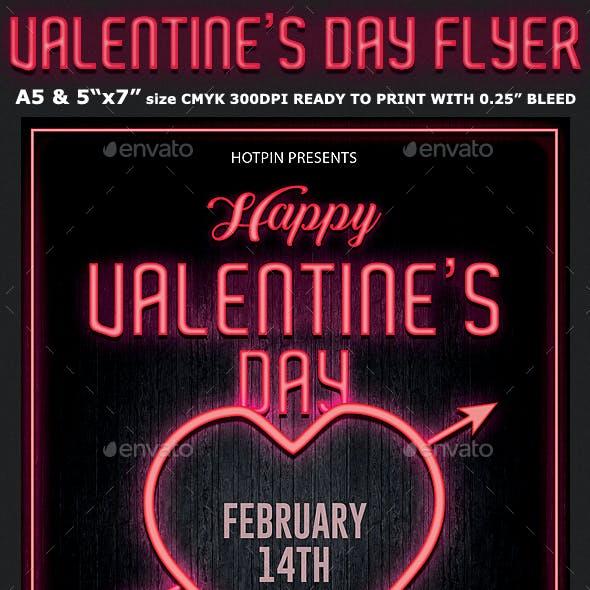 Neon Valentines Day Flyer Template