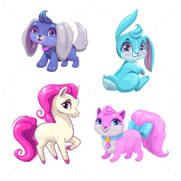 Cartoon Animals Icons Set