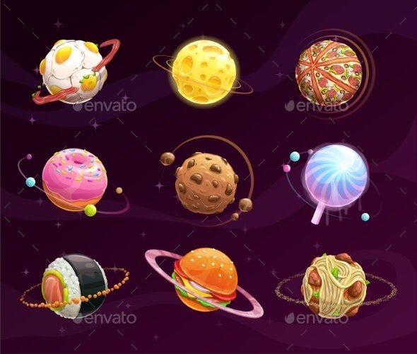 Food Planet Galaxy Concept - Food Objects