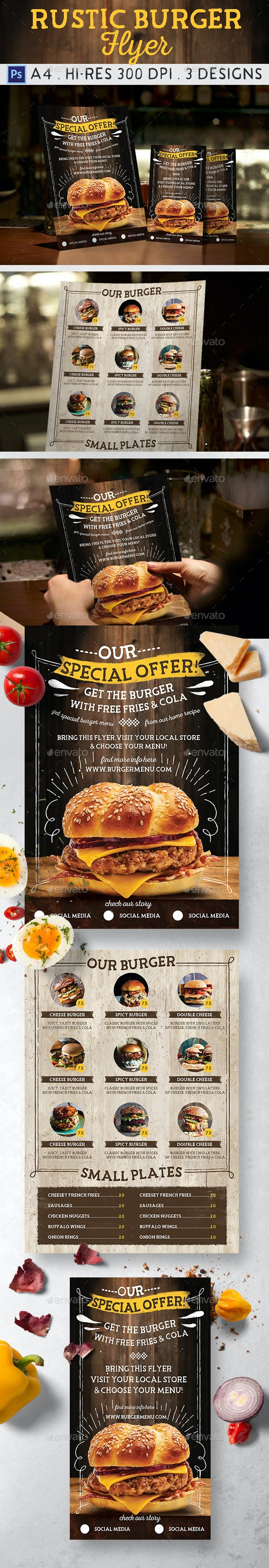 Rustic Burger Flyer - Food Menus Print Templates