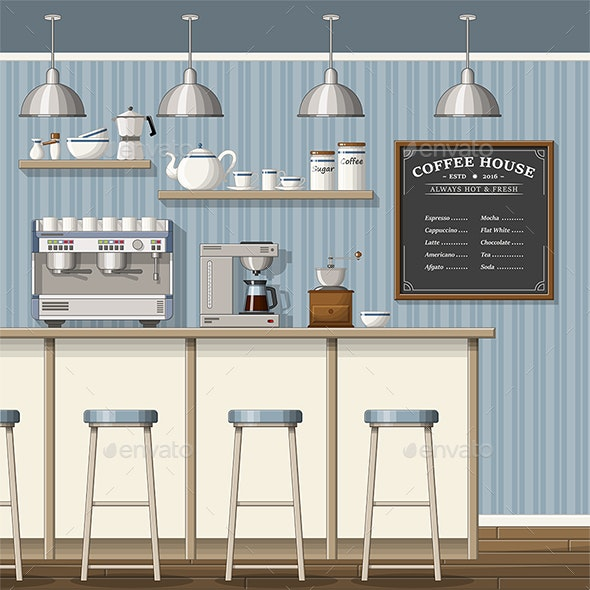 Illustration of a Classic Coffee Shop - Miscellaneous Vectors