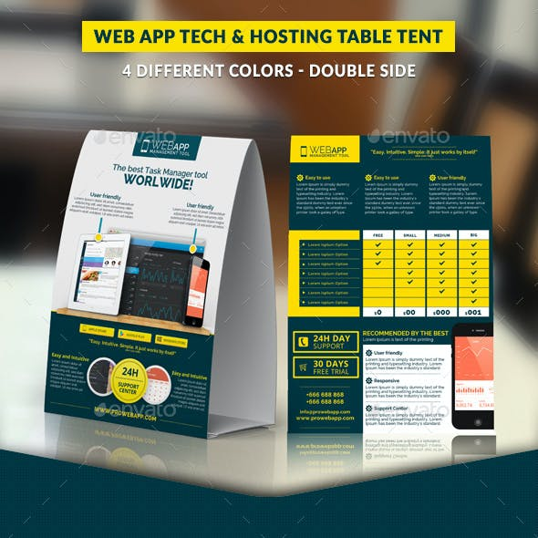 Web App Tech and Hosting Table Tent Template