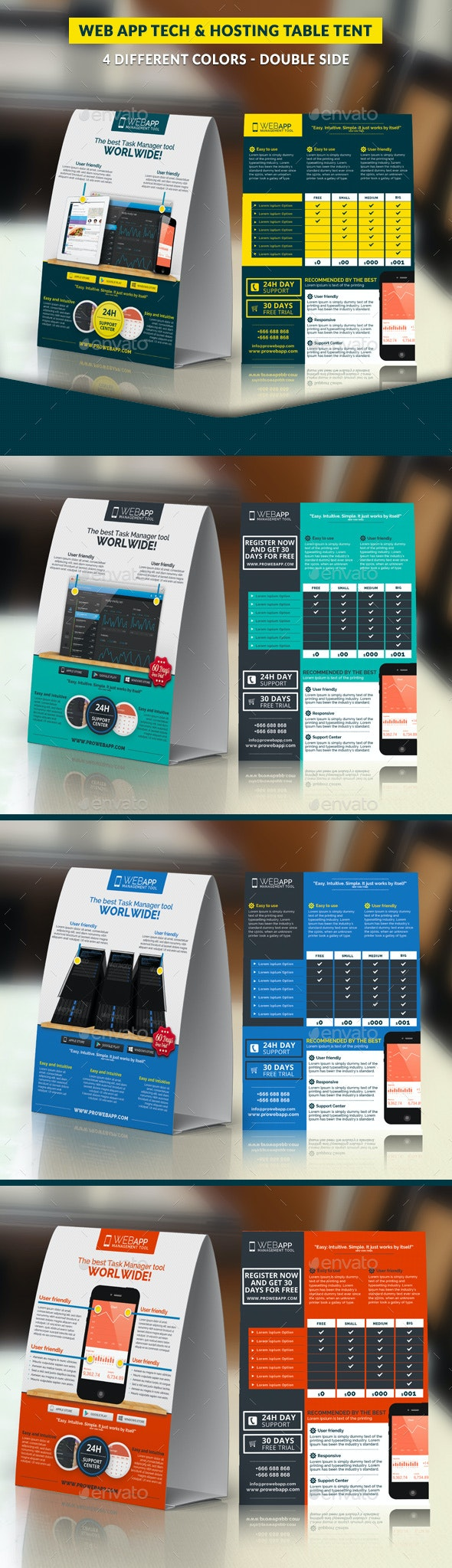 Web App Tech and Hosting Table Tent Template - Print Templates