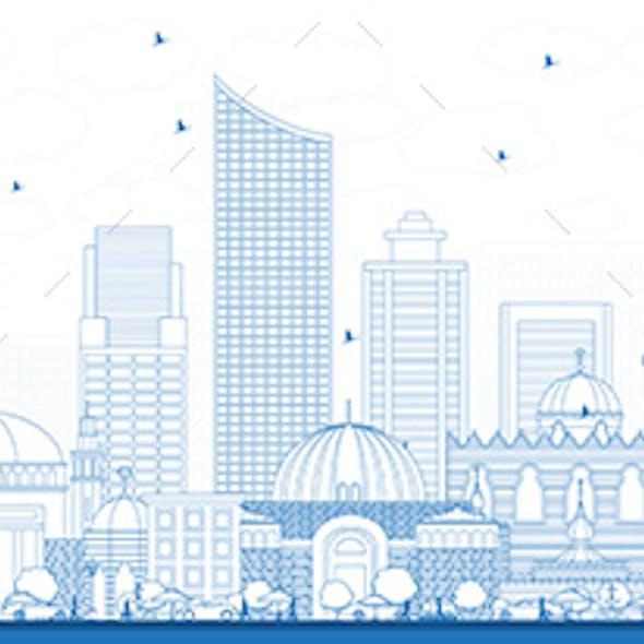 Outline Amman Jordan Skyline with Blue Buildings.
