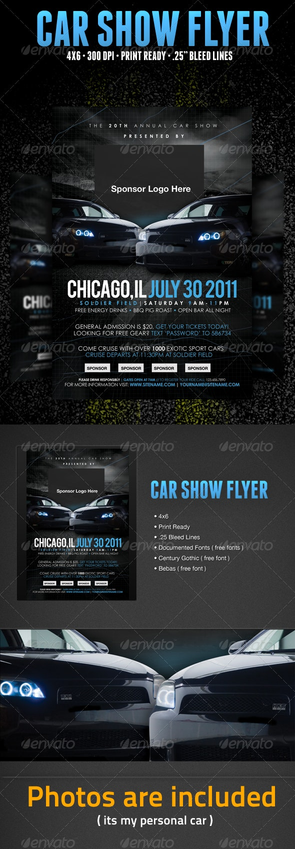 Car Show Flyer Template - Clubs & Parties Events