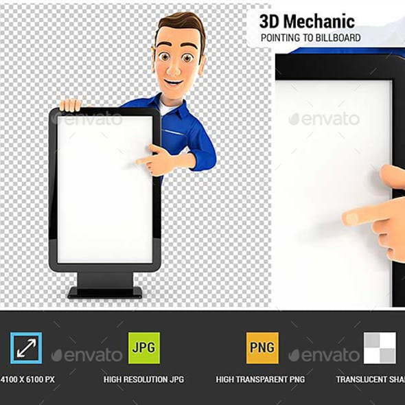 3D Mechanic Pointing to Blank Billboard