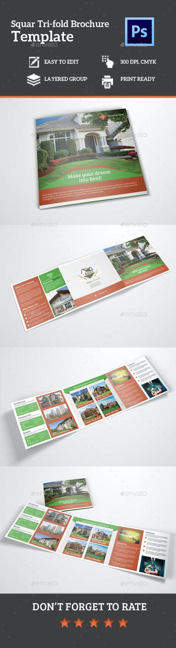 Square Tri-Fold Real Estate Brochure - Corporate Brochures