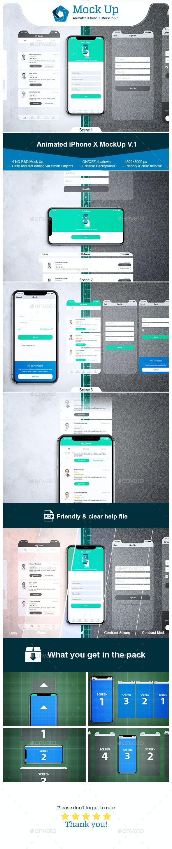 Animated iPhone X MockUp V.1 - Mobile Displays
