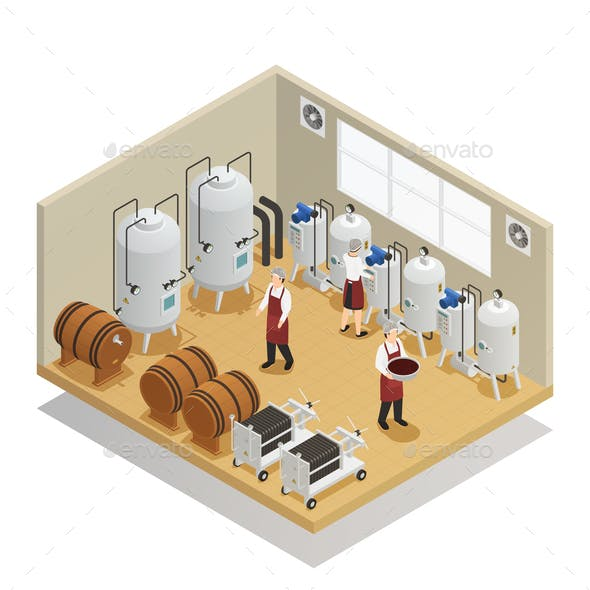 Alcoholic Beverages Production Isometric Composition