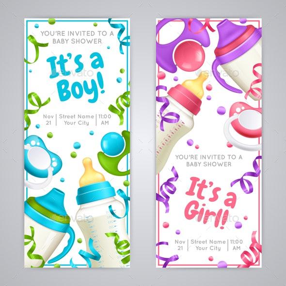 Baby Shower Vertical Banners - Miscellaneous Vectors