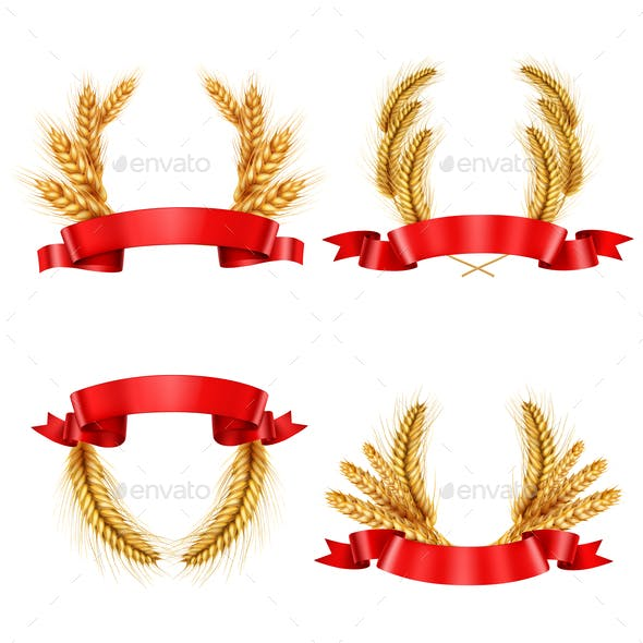 Realistic Spikelet Wreaths With Ribbons