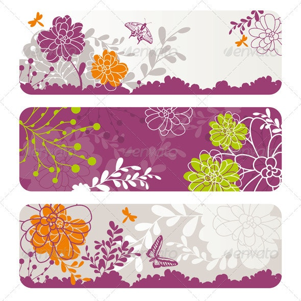 Abstract Floral Banners - Web Elements Vectors