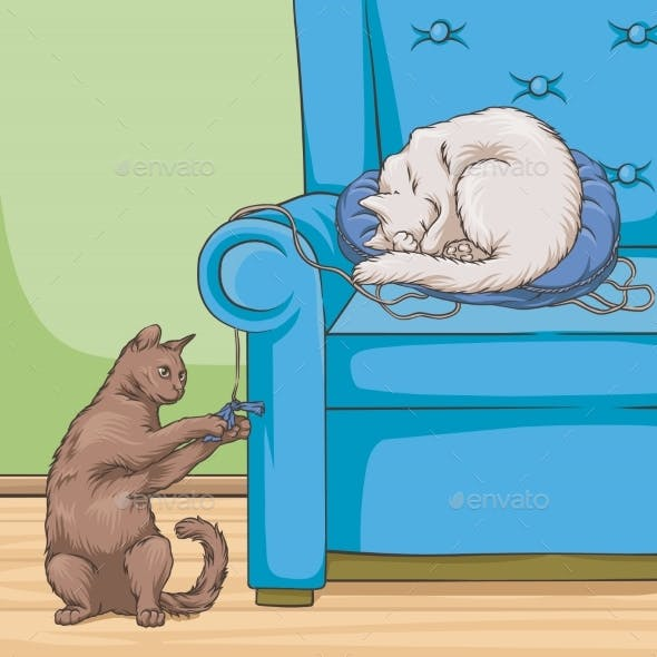 Cats in Armchair