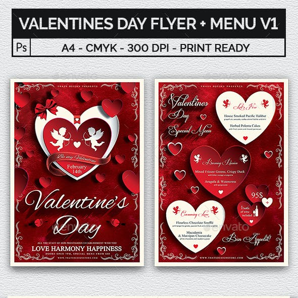 Valentines Day Flyer + Menu Bundle V1