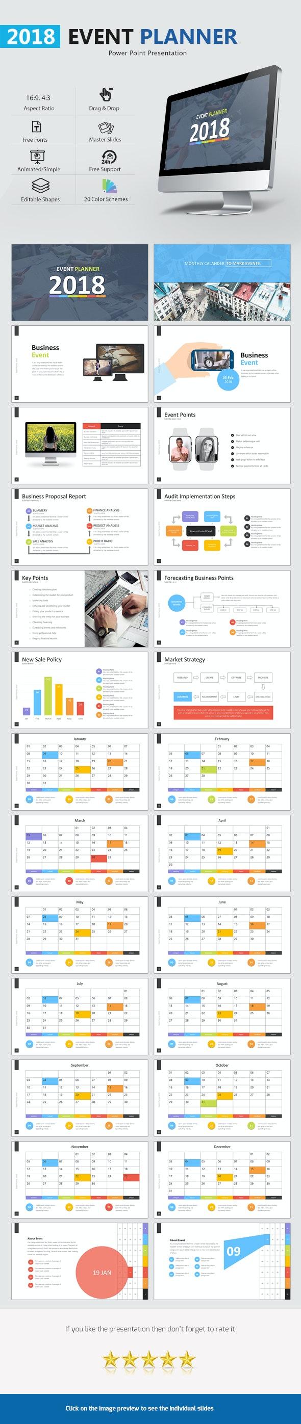 Event Planner 2018 Presentation - Business PowerPoint Templates