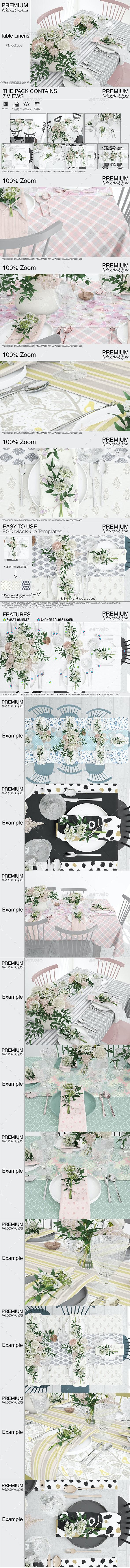 Tablecloth, Runner & Napkins - Print Product Mock-Ups