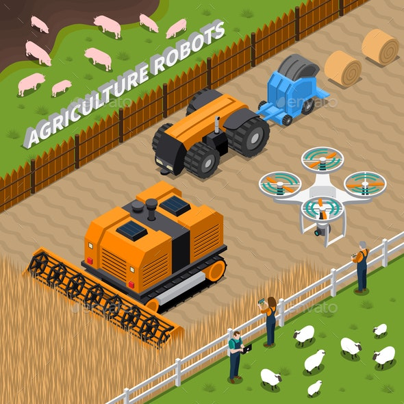 Farming Robots Isometric Composition - People Characters
