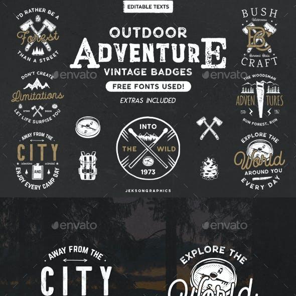 12 Vintage Outdoor Adventure Badges