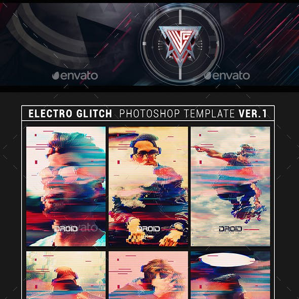 Electro Glitch Photoshop Template Ver.1