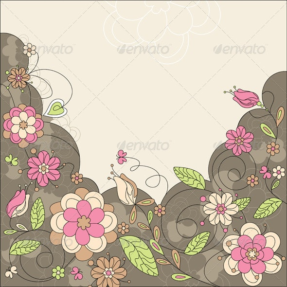 Abstract Floral Card - Backgrounds Decorative
