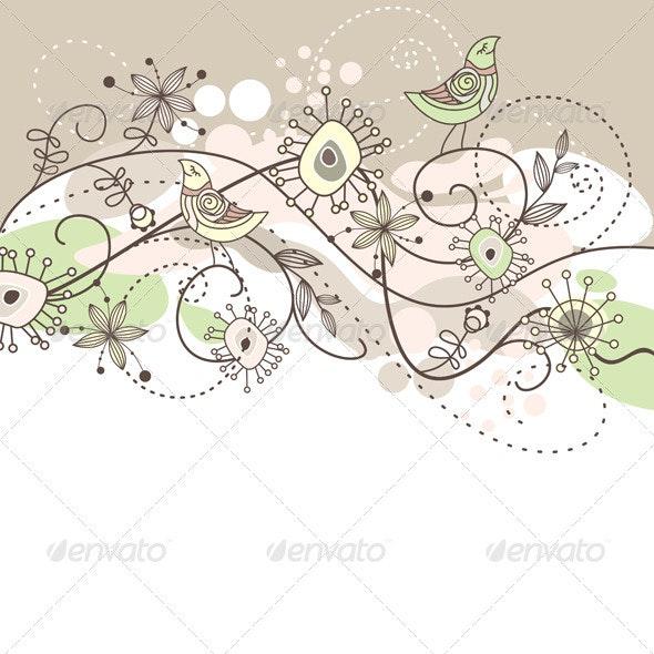 Cute Vector Background - Flourishes / Swirls Decorative