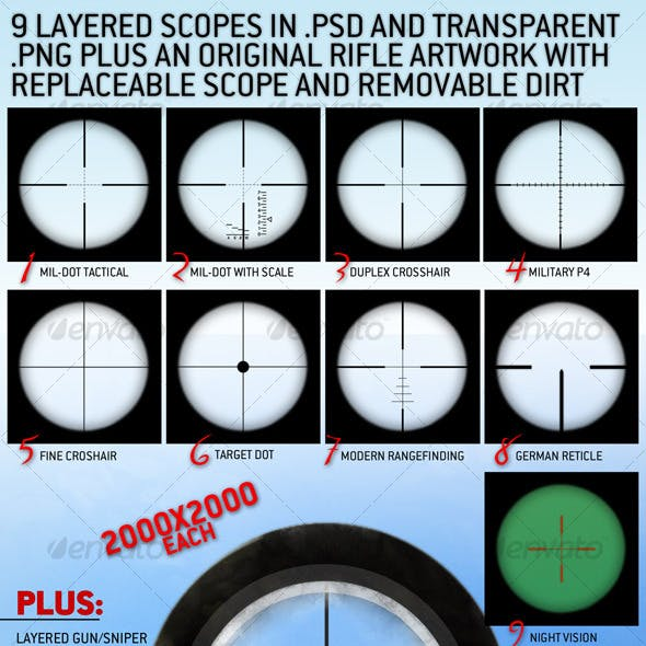 9 Layered Rifle Scopes set and a rifle view.