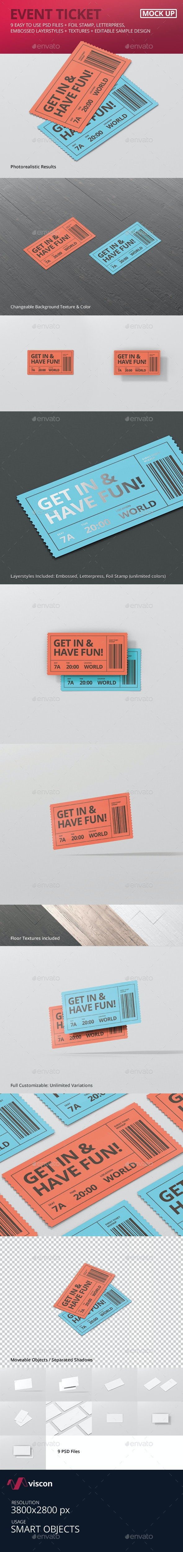Event Ticket Mockup - Miscellaneous Print