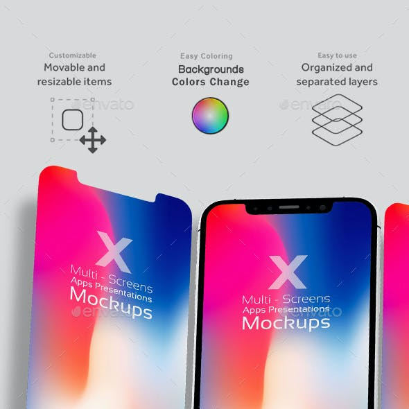 X Multi-Screens Apps Presentations Mock-ups