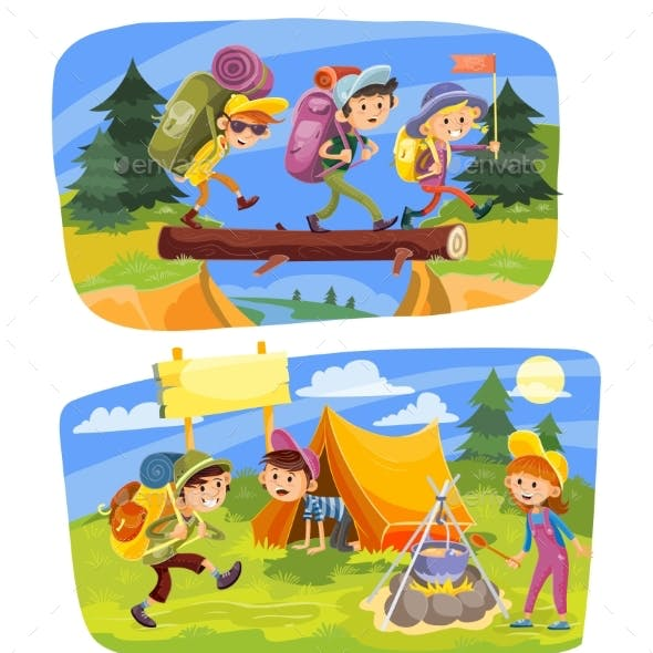 Kids Summer Camping Vector Concept Illustration