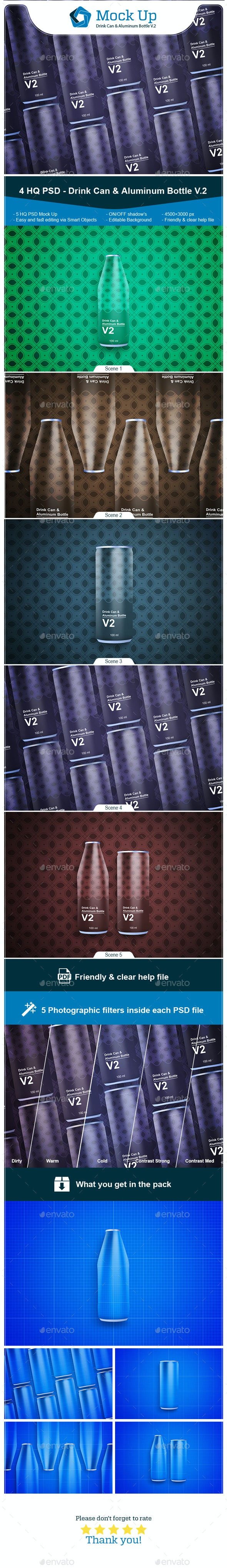 Drink Can & Aluminum Bottle V.2 - Food and Drink Packaging