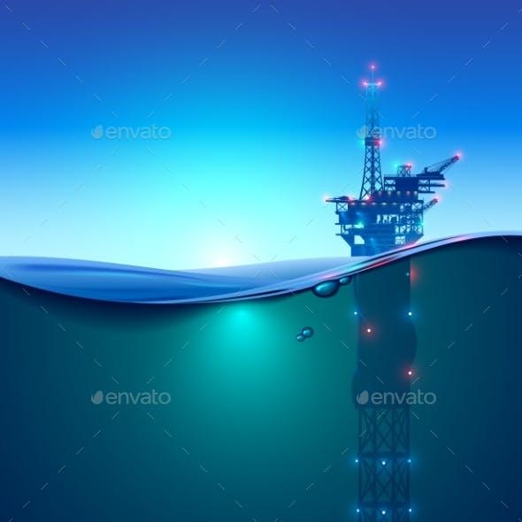 Oil Offshore Drilling Platform in the Ocean