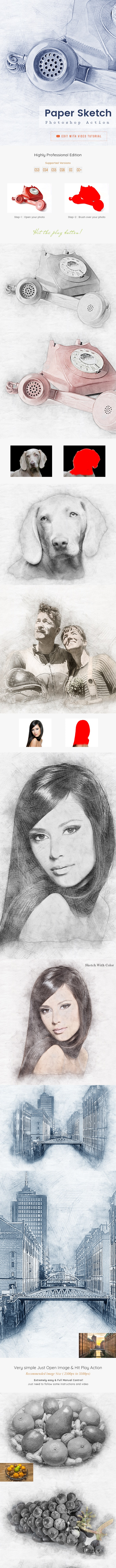 Paper Sketch Photoshop Action - Photo Effects Actions