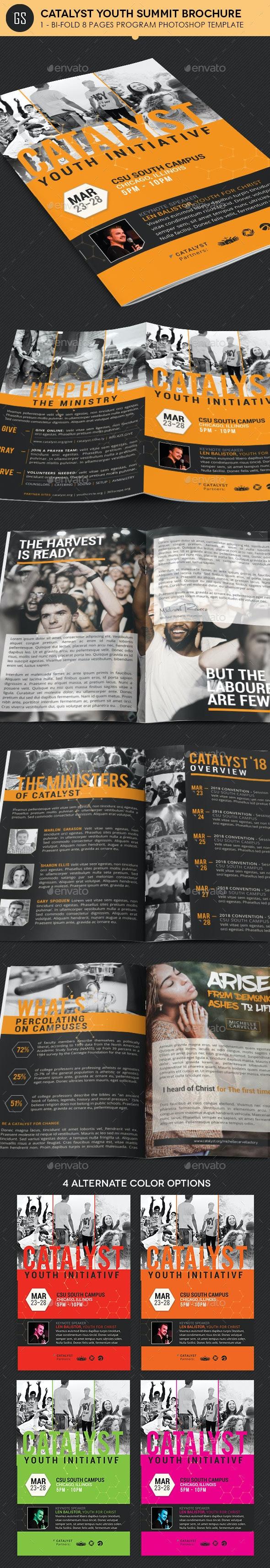 Catalyst Youth Summit Bi-Fold Program Template - Informational Brochures