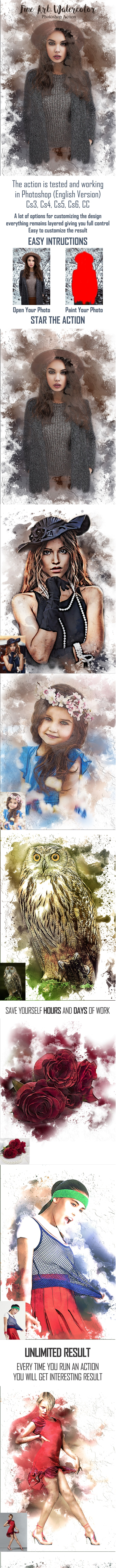 Fine Art Watercolor Photoshop Action - Photo Effects Actions