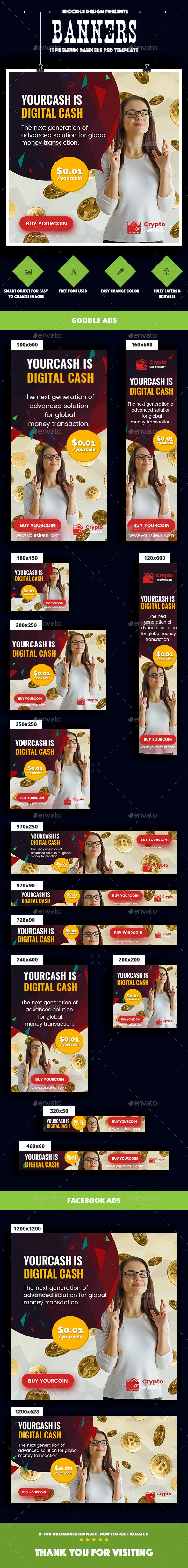 Cryptocurrency Banners Ads - Banners & Ads Web Elements
