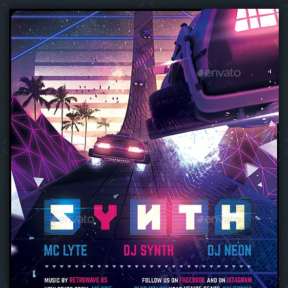 Synthwave Flyer v5 - Inception Retrowave Series Poster Template