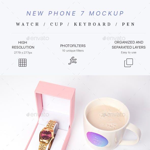 Phone 7 Mockup (Watch,Cup,Pen)